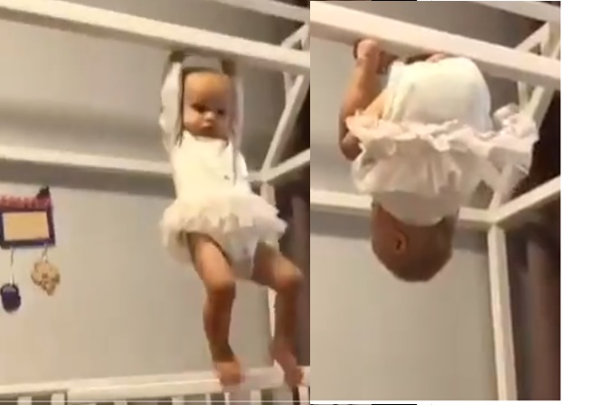 baby turned herself upside down