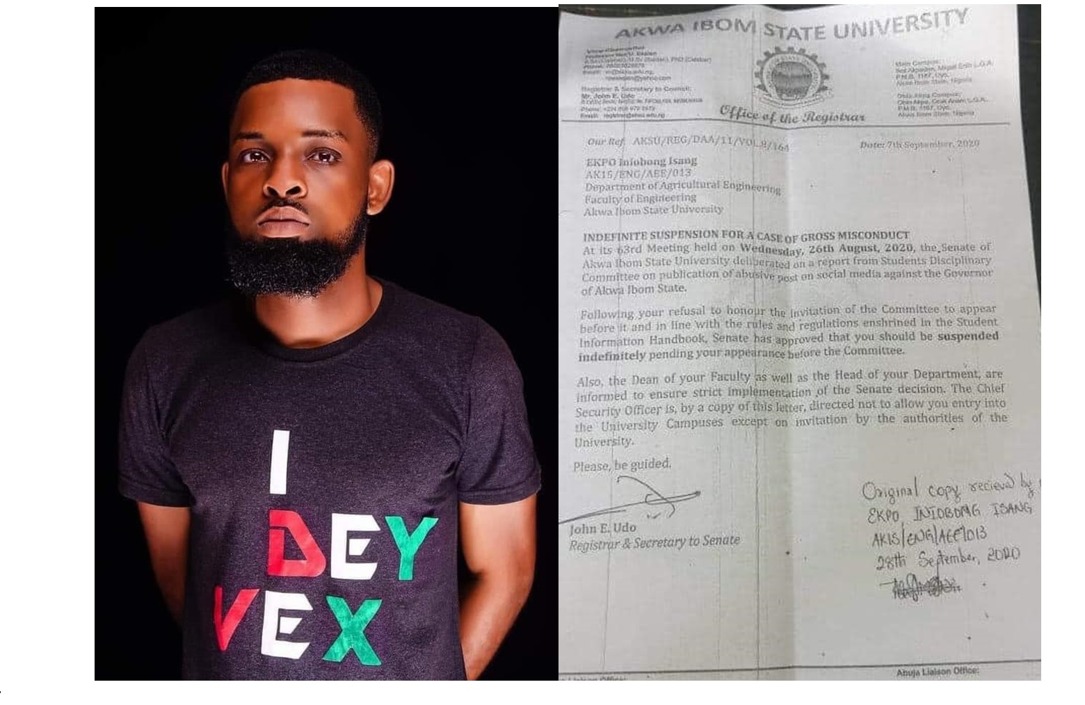 AKSU Student offered Scholarship to Study abroad for criticizing Udom emmanuel