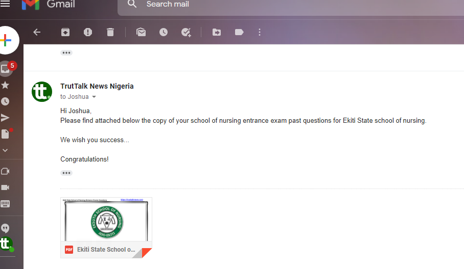 Ekiti State School of Nursing Past Questions and Answers PDF
